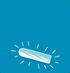 billede af en hvid pude på en blå baggrund, tamponen striber omkring dem.