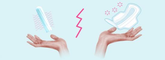 Billede af to hænder med en tampon i venstre hånd og et bind i højre hånd. Billedet illustrerer de forskellige fordele hver beskyttelse har.