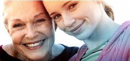 Billede af to kvinder, en ældre på venstre side og en yngre på højre side. Billedet illustrerer historien af o.b. og vi har bidraget til at øge livskvaliteten i mere end 60 år.