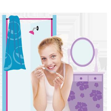 Billede af en ung kvinde med en o.b.® tampon i hånden