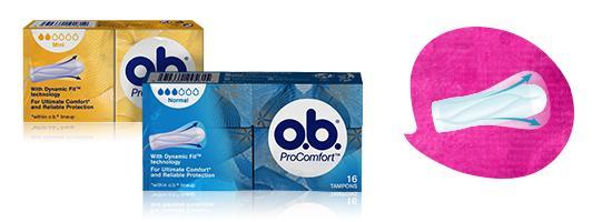 Billede af to stykker O.B. ProComfort Normal og Super. Produktet har tre eller fire dråber blod, hvilket indikerer, at de er egnede til normal og kraftig menstruation.